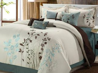 King 8pc Fortuno Comforter Set Beige   Chic Home Design