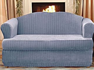 Sure Fit Stretch Stripe 2 piece T cushion loveseat Slipcover  Retail 99 99