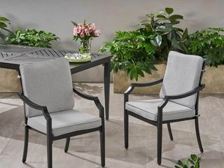 San Outdoor Aluminum Dining Chairs with Grey Cushions  Set of 2  by Christopher Knight Home Retail 235 00