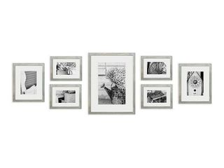 7pc Photo Wall Gallery Kit with Decorative Frame Set Gray   Gallery Perfect