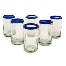 Handmade Artisan Crafted Cobalt Drinking Glasses Set 6  Mexico
