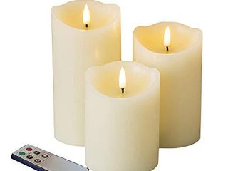 Eywamage Upgraded Realistic Flameless Pillar Candles with Remote Timer  Flickering Ivory lED Battery Candles Unscented  Real Wax D 3  H 4  5  6