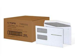 TOPS 1099 Envelopes  for 1099 NEC  1099 MISC  1099 R  1099 INT   1099 DIV  Double Window Security Envelopes  Gummed  5 5 8  x 9  500 Carton  TXB2222