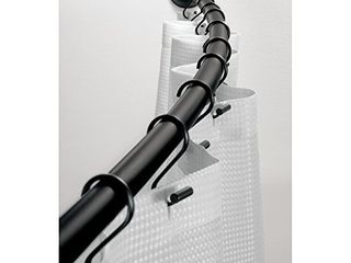 iDesign Curved Metal Shower Curtain Rod  Adjustable Customizable Curtain Rod for Bathtub  Stall  Closet  Doorway  41 72 Inches  Matte Black 79077