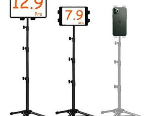 Ipad Tripod Mount  Ipad stand tripod Phone Floor Stand  Height Adjustable 20 to 67 Inch Tablet Stand for Ipad  Ipad Pro 12 9  11 and Others Within 5 5 12 9 Inch  Carrying Case and Mini Stand Includeed