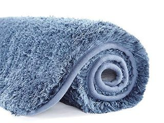 Suchtale large Bathroom Rug Extra Soft and Absorbent Shaggy Bathroom Mat  24 x 40  Blue  Machine Washable Microfiber Bath Mat for Bathroom  Non Slip Bath Mat  luxury Bathroom Floor Mats Rubber Back