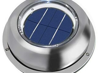 ECO WORTHY Solar Powered Attic Fan Solar Venting Stainless Steel Solar Roof Vent with Rechargeable Battery for Attic Roof Shed RV Boats Caravan