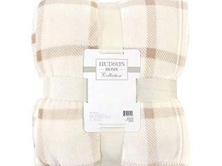 Hudson Baby Home Silky Plush Blanket  Tan Plaid Fleece  60X80 in   Oversize Throw   59241