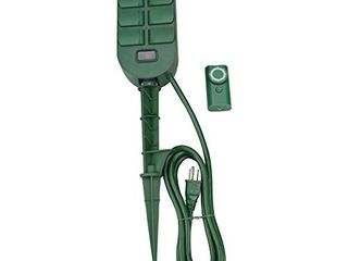 Woods 59785WD 6 Outlet Yard Stake Timer with Photocell and Wireless Remote Control  Green