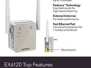 NETGEAR Wi Fi Range Extender EX6120   Coverage Up to 1200 Sq Ft and 20 Devices with AC1200 Dual Band Wireless Signal Booster   Repeater  Up to 1200Mbps Speed  and Compact Wall Plug Design