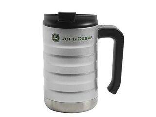 Gibson John Deere Thermal Double Wall Stainless Steel  17oz Silver Travel Mug  Grey
