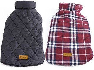 Kuoser Dog Coats Dog Jackets Waterproof Coats for Dogs Windproof Cold Weather Coats Dog Clothes Reversible British Style Plaid Dog Sweaters Pets Apparel Winter Vest for Dog Red 3Xl
