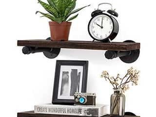 Mkono Floating Shelves with Industrial Pipe Brackets Rustic Farmhouse Shelf Set of 2  Wall Mounted Wood Shelving Storage Home Decor for Bathroom living Room Bedroom Kitchen Office