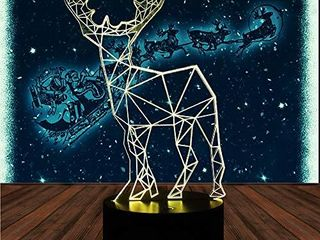 Deer 3D Effect lamp Optical lED Illusion lamp Desk Table Night light 7 Color Multicolored USB Power Color Changeable lamp Creative Atmosphere Bedside lamp for Home Decor Children Friend