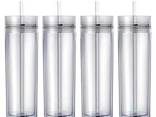 Maars Drinkware Double Wall Insulated Skinny Acrylic Tumblers with Straw and lid  16 oz   4 pack  Clear