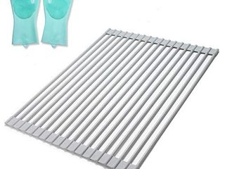 Dish Drying Rack Over Sink Dish Drainer Set for Kitchen  Sayfine Grey Stainless Dish Rack and Drainboard with Silicone Coated  Premium Roll Up Dish Racks for Countertops 16 9x12 6 inch