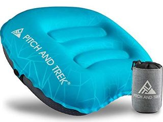 Pitch and Trek Camping Pillow   Inflatable Travel Pillow  Portable  Compact  Compressible   Neck   lumbar Support for Backpacking   Hiking