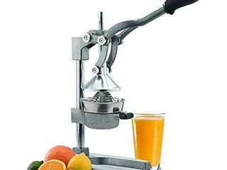Manual Fruit Juicer   Commercial Grade Home Citrus lever Squeezer for Oranges  lemons  limes  Grapefruits and More   Stainless Steel and Cast Iron   Non skid Suction Cup Base   15 Inch   by Vollum