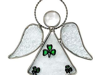 BANBERRY DESIGNS Irish Angel Suncatcher   Glass Hanging Angel with Green Shamrocks and Tempered Glass Inserts   Silver String Attached