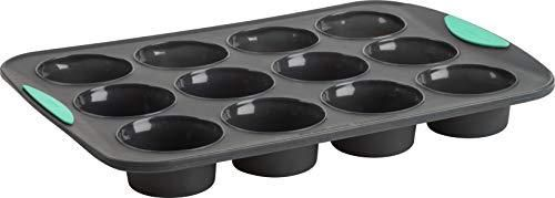 Trudeau Structured Silicone Muffin Pan  12 Cup  Grey Mint