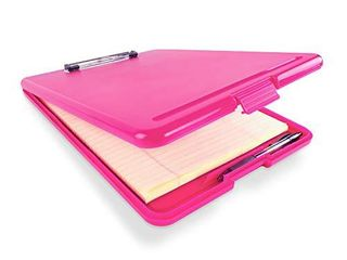 Slim Plastic Nursing RN Style Coaches Clipboard with Open Foldable Storage  Classroom Teacher College Size  9 5  x 13 5   Pink