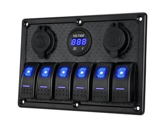 Kohree 6 8 Gang Marine Boat Rocker Switch Panel  Waterproof RV led Switch Panel Digital Voltmeter
