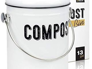Stylish Farmhouse Kitchen Compost Bin   100  Rust Proof w  Non Smell Filters   Easy Clean 1 3 Gallon Container looks Fabulous on Your Kitchen Countertop  MISSING lID