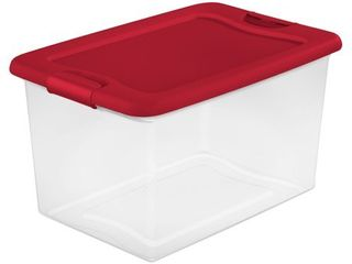 Sterilite 64 Qt  Clear Plastic Storage Bin Container Tote w  latching White lid