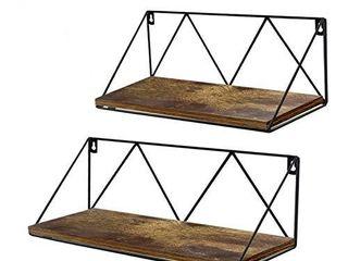 Edenseelake Floating Wall Shelves Set of 2  Wood Storage Shelf with Metal Brackets for Bedroom  Bathroom  living Room  Kitchen and Office