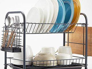 NATUROUS Dish Rack  2 Tier Dish Drying Rack Kitchen Organizer with Drain Board  Utensil Holder  Cutting Board Holder  Gray
