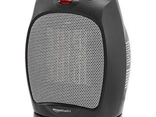AmazonBasics 1500W Oscillating Ceramic Heater with Adjustable Thermostat  Black