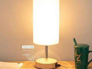 Bedside lamp with USB port   Touch Control Table lamp for Bedroom Wood 3 Way Dimmable Nightstand lamp with Round Flaxen Fabric Shade for living Room  Kids Room  College Dorm  Office lED Bulb Included