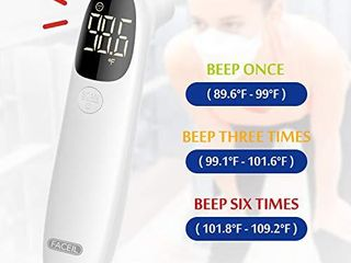 Thermometer for Adults Forehead by FACEIl  Touchless Infrared Thermometer with Fever Alert and 32 Group Memory Recall  C F Switchable  Digital Thermometer for Adults Babies and Object