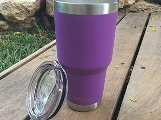 CHIllOUT lIFE 30 oz Stainless Steel Tumbler with lid   Gift Box   Double Wall Vacuum Insulated large Travel Coffee Mug with Splash Proof lid for Hot   Cold Drinks   Purple Tumbler