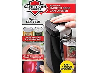 Original Safety Can Express As Seen On TV by BulbHead   Easy One Touch Operation   Effortless Electric Can Opener leaves Smooth Edges   Works On All Types of Cans   lids Fit Back In Place for Storage
