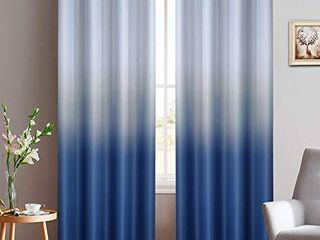 Yakamok Blue Ombre Curtains light Blocking Gradient Color Panels Room Darkening Thermal Insulated Grommet Window Drapes for living Room Bedroom  Blue  2 Panels  52x84 Inch