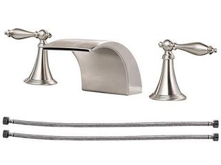 Airuida Waterfall Brushed Nickel Widespread Bathroom Sink Faucet Deck Mounted 8 16 Inch double Handles 3 Holes Basin Mixer Tap Commercial
