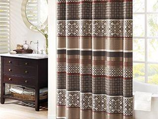 Madison Park Princeton Geometric Jacquard Fabric  Transitional Shower Curtains for Bathroom  72 X 72  Red  72x72