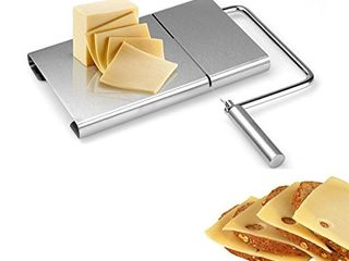 EEDAN Cheese Slicer with Wire Stainless Steel Cutter for Semi Hard Cheese   Vegetable Slicer   Butter Cutting Serving Board  Stainless Steel