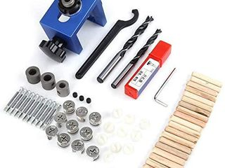 Woodworking Dowel Hole Jig locator  Drill Bit Kit Wood Hole Cutter  Drill Guide with Bushings  Punch locator Tool  Spanner  Hex Key  Stoppers  Hole Cutter with Stopper  Fasteners  Wood Dowels