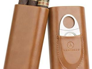 Mantello Brown leather Cedar Wood lined Travel Cigar Carrying Case with Cigar Cutter