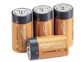 Amazon Basics 4 Pack C Cell All Purpose Alkaline Batteries  5 Year Shelf life  Easy to Open Value Pack