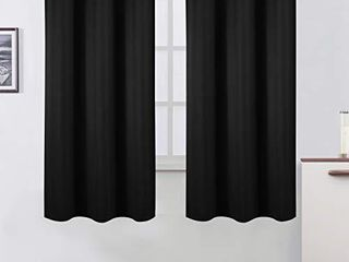 lEMOMO Black Blackout Curtains 42 x 63 Inch Set of Two Panels Grommet Room Darkening Curtains for Thermal Insulated Bedroom Curtains