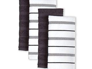 KitchenAid Albany Kitchen Towel Set  Set of 4  Black 4 Count