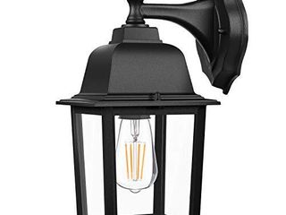 Dusk to Dawn Sensor Outdoor Wall lanterns  Exterior Wall lights Fixture with E26 Base lED Bulb  Wall Mount Sconce Anti Rust Waterproof Matte Black Wall lamp with Clear Glass Shade for Garage Doorway
