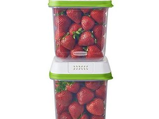 Rubbermaid FreshWorks Saver  Medium Produce Storage Containers  2 Pack  7 2 Cup  Clear