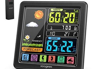 Koogeek Wireless Weather Station Indoor Outdoor Thermometer Hygrometer with Sensor  Digital Temperature Humidity Monitor  Alarm Clock Weather Forecast Color lCD Display Backlight  Sooze Mode Brand