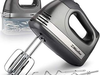 Mueller Electric Hand Mixer  5 Speed 250W Turbo with Snap On Storage Case and 4 Stainless Steel Accessories for Easy Whipping  Mixing Cookies  Brownies  Cakes  and Dough Batters