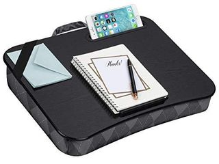 lapGear Designer lap Desk with Phone Holder and Device ledge   Gray Argyle   Fits up to 15 6 Inch laptops   Style No  45438