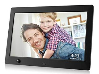 Dhwazz Digital Photo Frame  10 5 Inch USB IPS HD Electronic Picture Frames with Remote Control  Share Moments via SD Card and Mini USB  Support Slideshow  Video and Music  Motion Sensor